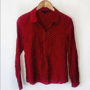 Boden silk blend red polka dot sparkle top